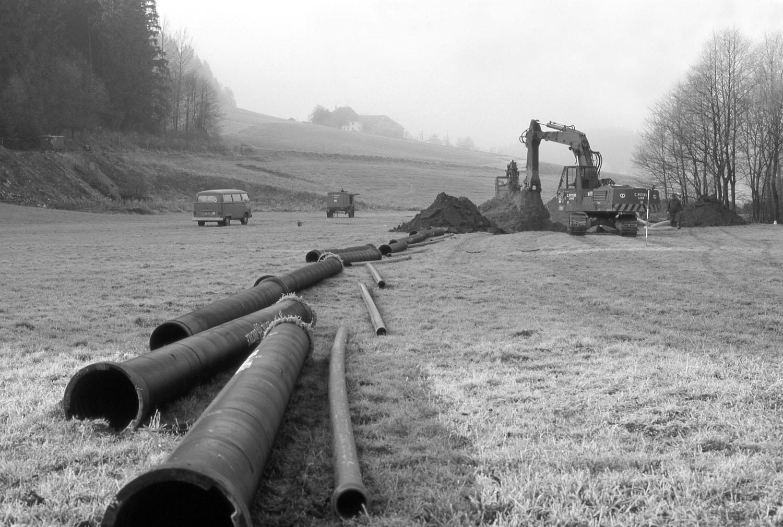 Wasserleitungsbaustelle in den 1970er Jahren